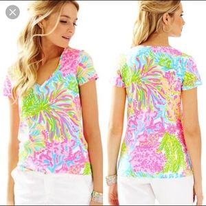 Lilly Pulitzer lovers coral octopus Michelle top M